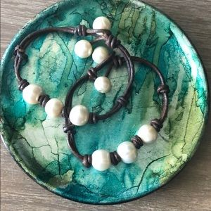 Pearl and leather bracelets